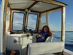 Maggie at the helm